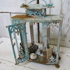 Ornate display showcase painted rusty sea glass aqua shabby chic observation box beach cottage home decor  Anita Spero.