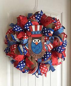 4th of July Wreath, July 4th Wreath, Owl Wreath, Happy Fourth Wreath, Patriotic Wreath, July Fourth Wreath, July 4th Decor, Patriotic Decor by CharmingBarnBoutique on Etsy
