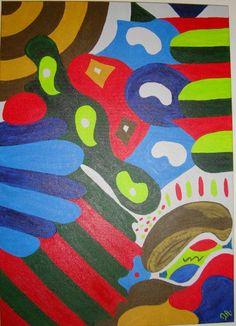 O Cogumelo Pensante, da série Encantada-mente. Acrílico s/ painel - 70x50cm