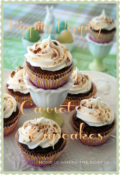 Carrot cake cupcakes made with boxed cake mix and diet soda.  Frosting is also pre-made so these would be quick and easy.