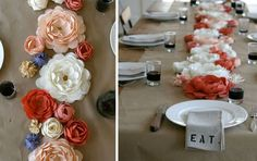 Paper flowers. Cool idea, looks pretty, would be inexpensive, is diy, is low maintenance. you could encorporate your wedding colors