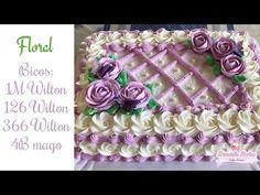 Confeitando bolo c/ flores - YouTube Sheet Cake Designs, Whipped Cream Icing, Decorator Frosting, Cupcake Cakes, Cupcakes, Mom Cake, Square Cakes, Cake Decorating Tutorials, Christening