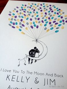 Moon Balloon Couple, The original guestbook thumbprint balloon (inks available separately)