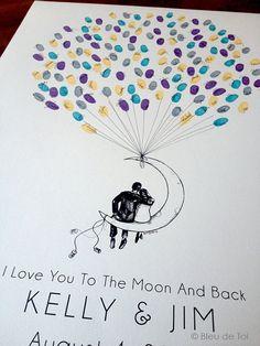 Lune Couple de ballon le ballon d'empreinte numérique par bleudetoi