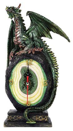 Green Dragon on Malachite Gemstone Quartz Desktop Clock Fantasy Collectible 10 Inch H