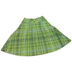 Pre-owned plaid skirt ($39) ❤ liked on Polyvore featuring skirts, green, tartan skirt, green plaid skirt, full knee length skirt, knee length skirts and full skirts