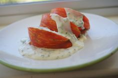 Tomatoes with herb creme fraiche