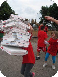 Fun and original field day ideas: pizza box relay (always add 1 box)