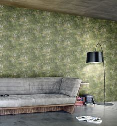 Miura Palm Feature by Lamborghini - Green - Wallpaper : Wallpaper Direct Green Wallpaper, Wall Wallpaper, Outdoor Sofa, Outdoor Furniture, Outdoor Decor, Vinyls, Leaf Design, Palm, Upholstery