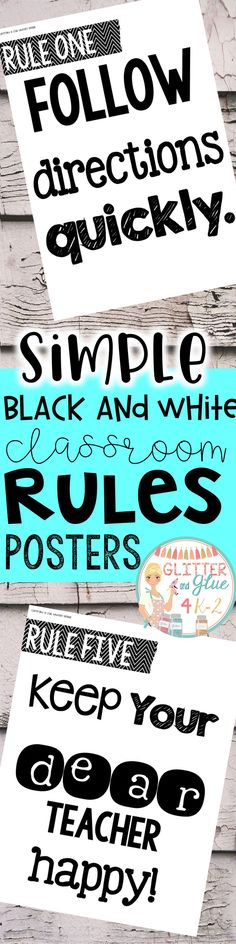 Display your classroom rules with these simple black and white posters. Included are twelve different classroom rules with a white back ground and black lettering Save ink and print them on colored paper!!Keywords: classroom décor, classroom rules, chalkboard theme, chalk classroom, , classroom management, class rules, rule posters, bright classroom, black and white, printables, back to school, classroom inspiration