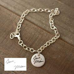 Handwriting Charm Bracelet. Personalized Writing Jewelry