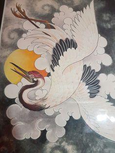 Japonese crane tattoo
