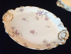 Antique C.H. Field Haviland Limoges Serving Platter with Purple Flowers & Gilt - Wedding/Engagement/Housewarming Gift/Luxury Tableware
