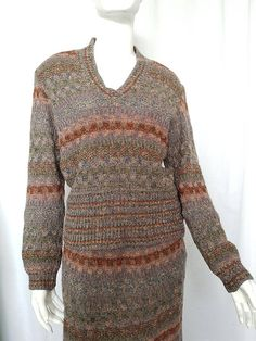 Vintage 70's MISSONI Knit Two Piece- Top and Skirt Knit Ensemble