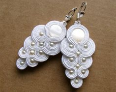 Soutache earrings bridal wedding bride jewelry white pearls crystals country wedding rustic bridesmaids gift ivory something Great Gatsby