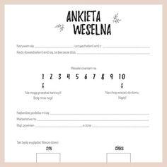 Ankieta weselna dla gości. Kliknij i pobierz ankietę w dobrej jakości i za darmo! Stwórz księgę gości samemu! #zróbtosam #diy #ślub #wesele #rustykalnie #księgagości #rustykalny #inspiracje #dodruku #popolsku Wedding Tips, Boho Wedding, Wedding Photos, Dream Wedding, Wedding Day, Wedding Centerpieces, Wedding Decorations, Dream Book, Wedding Seating
