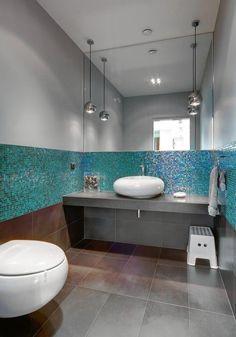 Bad Fliesen Glas Mosaik Hellblau Vintage Spiegelrahmen Haus Bad