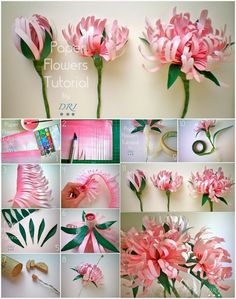 Mesmerizing DIY Handmade Paper Flower Art Projects To Beautify Your Home - Diy Projects Cool Paper Flower Art, How To Make Paper Flowers, Tissue Paper Flowers, Paper Flower Tutorial, Paper Roses, Flower Crafts, Paper Art, Flower Artwork, Paper Ribbon