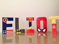 Lettres décoratives personnalisées thème super-héros - 20 cm : Accessoires de maison par emmaetmoi Baby Deco, Lil Boy, Superhero Party, Kids House, Diy Crafts For Kids, Happy Day, Kids And Parenting, Decoration, Kids Bedroom