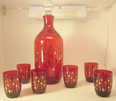 Vintage Mid Century Modern Blown Red Glass by LazyDogAntiqueStore