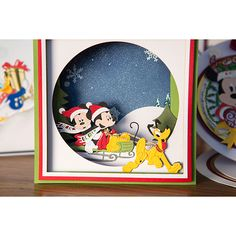 This official Disney licensed Vintage Panorama Sleigh Die is part of a range of Mickey Mouse and Friends crafting products, official and exclusively designed at Create and Craft. Disney Christmas Cards, Disney Cards, Mickey Mouse Christmas, Mickey Mouse And Friends, Disney Mickey Mouse, Xmas Cards, Fall Cards, Marvel Cards, Tattered Lace Cards