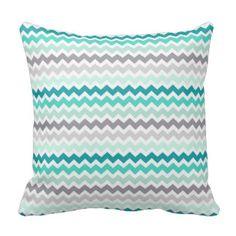 Grey Teal Chevron Decorative Pillow