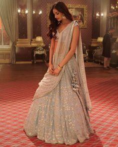 a still from her upcoming film, Mubarakan, Athiya was seen in an ornate Anita Dongre lehenga choli. Athiya Shetty's top Indian wear looks Dress Indian Style, Indian Fashion Dresses, Indian Designer Outfits, Indian Attire, Indian Wear, Bride Indian, Indian Weddings, Bollywood, Indian Bridal Outfits