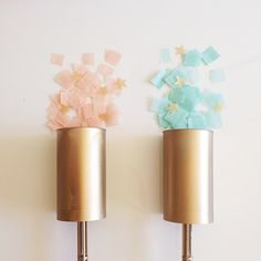 Gender Reveal Party- Star themed.  Shooting star confetti poppers with boy or girl  colored confetti