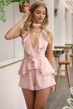 Wild Child Playsuit - Blush | Cool and Classy in this summer playsuit! | Shop now via Nouveau Riche Boutique #summer #outfits #valentinesdayoutfit #onlineboutiqueaustralia