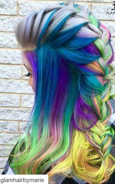 Blue mixed braided rainbow dyed hair color