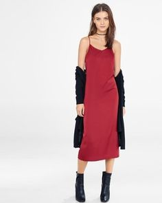 brick red cami slip dress from EXPRESS