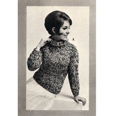 Easy Tweed Pullover Sweater Knit Pattern, Big Needles he yarns employed gives this long sleeved sweater with turtleneck a tweed effect.   It is hip length.