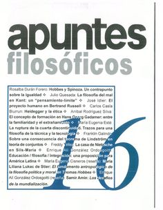 Apuntes Filosóficos 1994 - 2012 disponible en Saber UCV http://saber.ucv.ve/ojs/index.php/rev_af/issue/archive