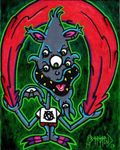 Original Art 10 x 8 Inches Monster Freak Blood Canvas Board Painting Dr Twistid #IllustrationArt