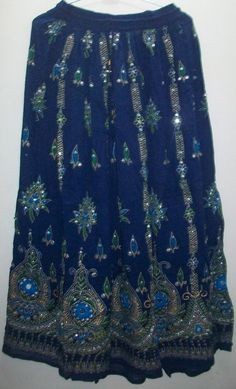 "Hippy Tribal Peasant Sequin Belly Dance Indian SKIRT Boho Gypsy Navy 36"" SKT01-12"