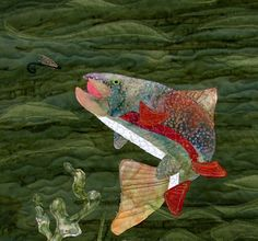 Fishing Rainbow Trout Art Quilt by LauraGlassArtQuilts on Etsy
