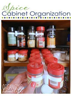 How to Organize Your Spice Cabinet ~ Organize Your Kitchen Frugally Day 3 - Organizing Homelife Spice Storage, Spice Organization, Spice Racks, Organization Ideas, Organizing Life, Storage Ideas, Kitchen Hacks, Diy Kitchen, Kitchen Storage