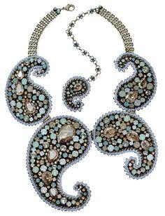 Halskette Collier Paisley beige / grün