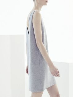 Relaxed in soft grey sleeveless dress