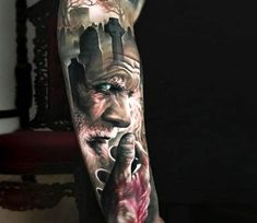 Amazing 3 colors realistic tattoo style of Death motive Cemetery and Old Man done by tattoo artist Arlo DiCristina Zeus Tattoo, Arlo Tattoo, Life Tattoos, Body Art Tattoos, Sleeve Tattoos, Unique Tattoos, Small Tattoos, Tattoos For Guys, Outer Forearm Tattoo