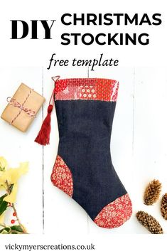 Learn how easy it is to transform your old jeans and fabric scraps into this stunning Christmas stocking. Free printable instructions and stocking template, plus video instructions. Christmas Stocking Pattern, Christmas Sewing, Christmas Stockings, Christmas Diy, Christmas Decorations, Christmas Tables, Nordic Christmas, Modern Christmas, Christmas Projects