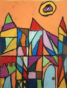 paul klee kid art project, paul klee cubism castles on orange paper