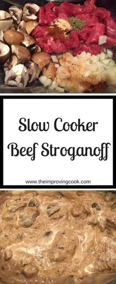 Slow Cooker Beef Stroganoff- beef, mushrooms and sour cream make this creamy slow cooker beef recipe. Serve with rice or jacket potatoes. Slight adaptation to make it syn free on Slimming World too. #slowcooker #crockpot #beef #beefstroganoff #slimmingworld