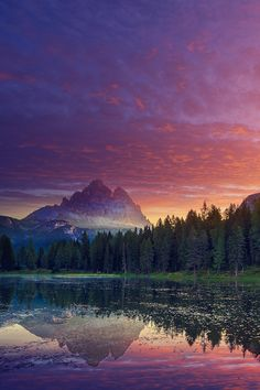 mountain lake at sunrise, Lago Antorno in Belluno, Italy, by Zelei Peter, on 500px.