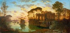 Evening landscape by Ferdinand Knab