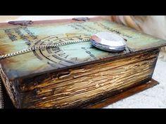 Decoupage Tutorial Vintage Wooden Book - Ντεκουπάζ Ξύλινο Βιβλίο - Diy Step by Step - YouTube