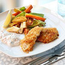 Parmesanpanerad torsk med rotfrukter - 11p