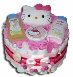 windeltorte basteln anleitung babygeschenke geburt hell  kitty