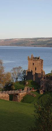 Urquhart Castle sits beside Loch Ness in Scotland along the A82 road, between Fort William and Inverness. It is close to the village of Drumnadrochit. Wikipedia