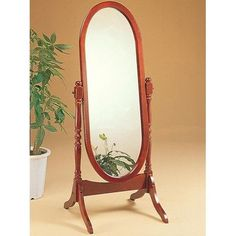 Monarch Specialties Standing mirror I Oval Wooden Framed Standing Mirror Walnut Home Decor Mirrors Lighting Traditional Floor Mirrors, White Bathroom Furniture, Cheval Mirror, Wood Framed Mirror, Mirror Glass, Mirror Mirror, Home Decor Mirrors, Mirrors Wayfair, Houses